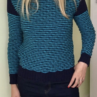 Hand Knitted Diagonal Rib Sweater