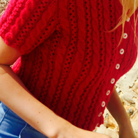 Hand Knitted Cropped Cable Cardigan