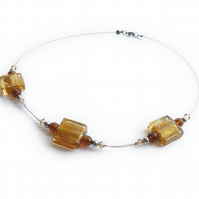 Amber Fused Glass Necklace - Yellow Gold Bead Necklace - Golden Topaz Necklet