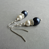 Navy Pearl and Crystal Earrings - Dark Blue Drop Earrings - Bridesmaid Jewellery