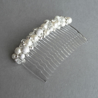 White Pearl Hair Comb - Bridal Hair Accessories - Stardust Wedding Fascinator