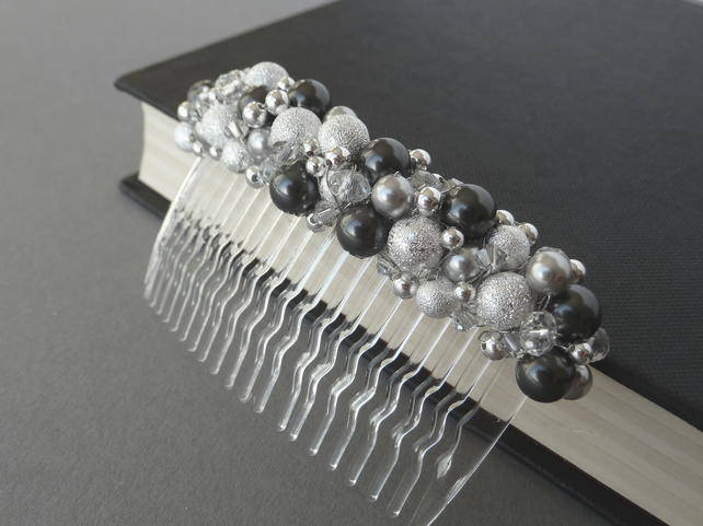Dark Grey Stardust Hair Comb - Pearl and Crystal Fascinator - Hair Accessories
