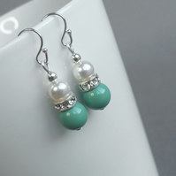 Aqua Earrings - Mint Green Bridesmaids Jewelry - Turquoise Wedding Accessories