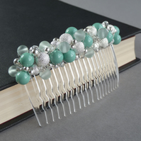 Aqua Stardust Hair Comb - Mint Pearl Hair Accessories - Wedding Head Piece