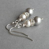 Silver Grey Pearl Earrings - Crystal Bridesmaid Jewellery - Wedding Accessories