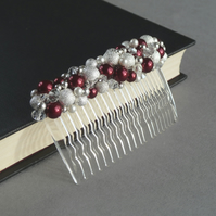 Dark Red Stardust Hair Comb - Crimson Wedding Fascinator- Burgundy Head Piece