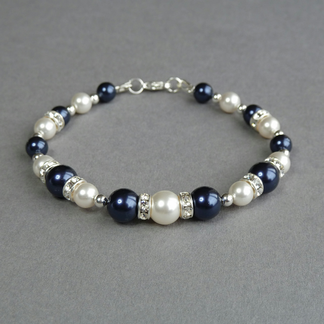Navy Pearl and Crystal Bracelet - Dark Blue Bridesmaid Jewellery - Navy Wedding