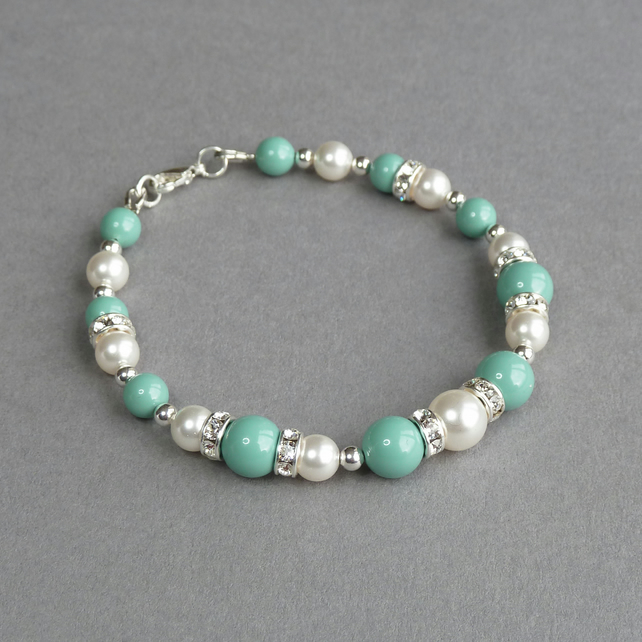 Aqua Pearl and Crystal Bracelet - Turquoise Wedding Jewellery - Bridesmaid Gifts