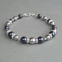 Dark Purple and Lilac Bracelet - Amethyst Pearl and Crystal Wedding Jewellery