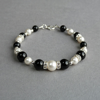 Jet Black and Ivory Bracelet - Onyx, Pearl and Crystal Bridesmaids Jewellery