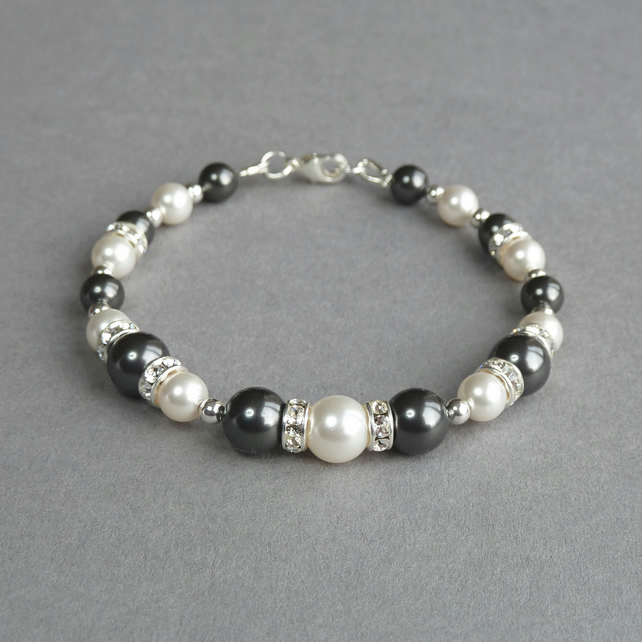 Dark Grey Pearl and Crystal Bracelet - Charcoal Grey Bridesmaids Jewellery
