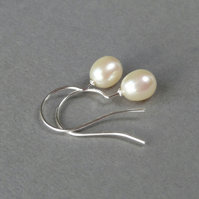 White Freshwater Pearl Drop Earrings - Ivory Pearl Bridal Jewellery - Wedding