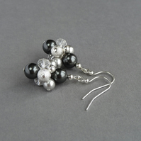 Dark Grey Stardust Earrings - Pearl Drop Earrings - Cluster Earrings - Jewellery