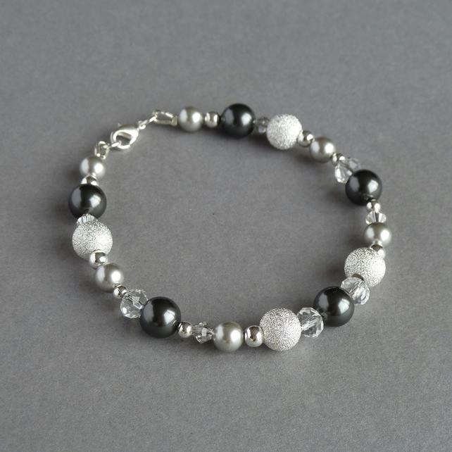Dark Grey Pearl & Crystal Bracelet - Charcoal & Silver Bridesmaids Jewellery