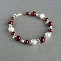 Dark Red Stardust Bracelet - Burgundy Pearl Bridesmaid Gifts - Wedding Jewellery