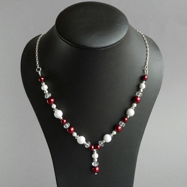 Dark Red Stardust Y Chain - Crimson Pearl and Crystal Drop Necklace - Wedding