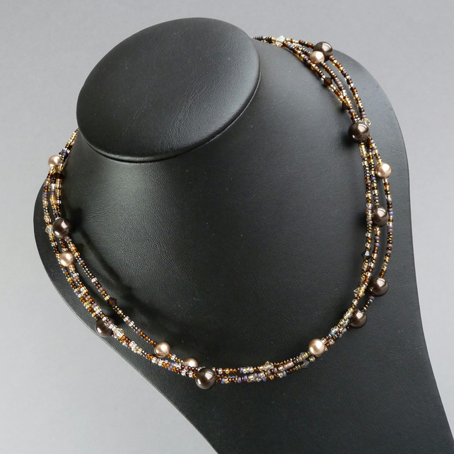 Deep Brown Multi Strand Necklace - Bronze and Gold Pearl and Crystal Jewellery