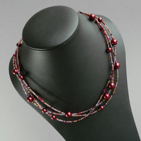 Claret Twisted Necklace - Burgundy Multi-strand Jewellery - Crimson Pearl Gifts