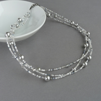 Silver Twisted Multi Strand Necklace - White and Grey Pearl & Crystal Jewellery
