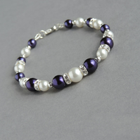 Royal Purple Pearl and Crystal Bracelet - Aubergine Bridesmaids Jewellery