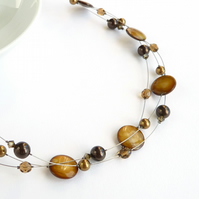 Golden Brown Necklace - Coffee Floating Pearl Necklaces - Multi Strand Jewellery