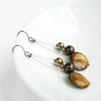 Golden Brown Earrings - Coffee Dangly Earrings - Drop Earring - Jewellery