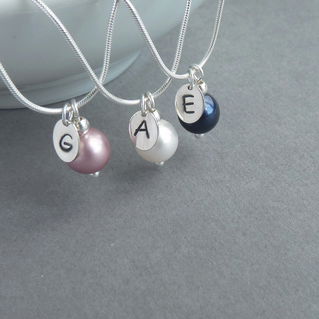 Personalised Initial Necklace - Flower Girl Jewellery - Pearl Drop Necklace