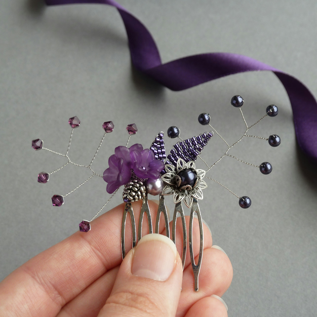 Purple Flower Hair Comb - Aubergine and Lilac Floral Hair Accessories - Wedding