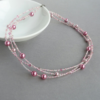 Rose Pink Pearl Multi Strand Necklace - Soft Raspberry Pink Bridesmaid Jewellery