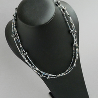 Dark Grey Multi Strand Necklace - Charcoal Jewellery - Black Pearl and Crystal