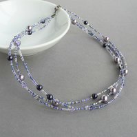 Lilac Twisted Multi-strand Necklace - Purple and Violet Beaded Jewellery