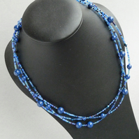 Royal Blue Multi Strand Beaded Necklace - Dark Cobalt Jewellery - Sapphire Pearl