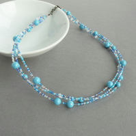 Turquoise Multi Strand Beaded Necklace - Sky Blue Pearl and Crystal Jewellery