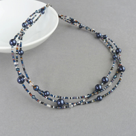 Navy Blue Multi Strand Twisted Necklace - Dark Blue Pearl and Crystal Jewellery