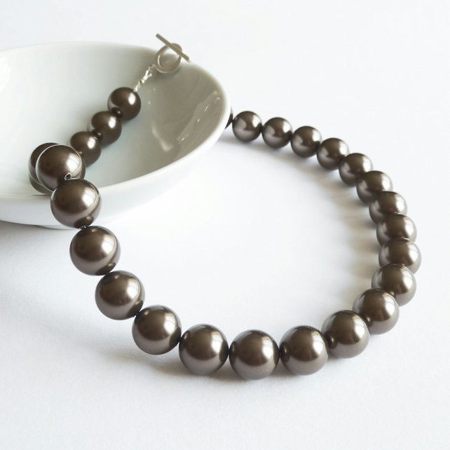 Chocolate Brown Pearl Necklace - Swarovski Chunky Pearls - Bronze