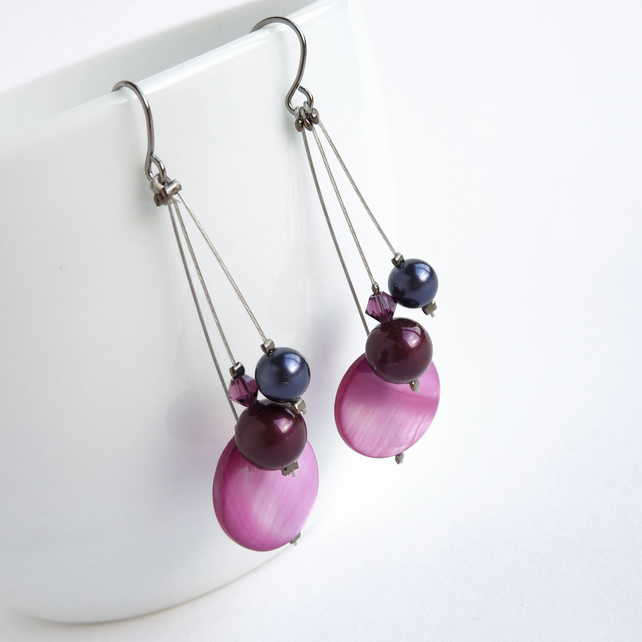 Plum Pearl Drop Earrings - Pink Purple Dangle Earrings - Bridesmaids Jewellery