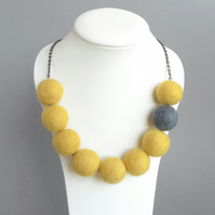 Lemon Yellow and Grey Chunky Felted Bead Necklace - Felt Jewellery