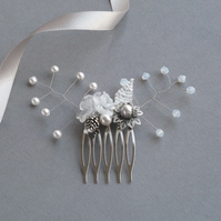 White Flower Hair Comb - Bridal Hair Piece - Wedding Accessories - Fascinator