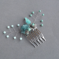 Mint Green Flower Hair Comb - Aqua Bridesmaid Hair Piece - Wedding Accessories