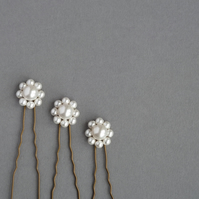Bridal Flower Hair Accessories - Ivory Pearl Bobby Pins - White Wedding