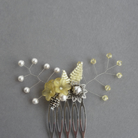 Yellow Flower Hair Comb - Lemon Bridesmaid Hair Accessories - Wedding Fascinator
