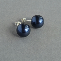 Chunky Navy Pearl Studs - Night Blue Swarovski Pearl Post Earrings - Jewellery