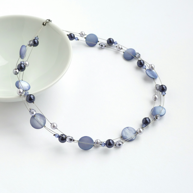 Lavender Floating Pearl Necklace - Lilac Bridesmaids Jewellery - Purple Necklace
