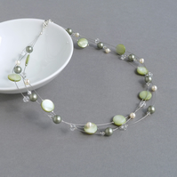 Sage Green Multistrand Pearl Necklace - Celadon Bridesmaid Jewellery - Pistachio