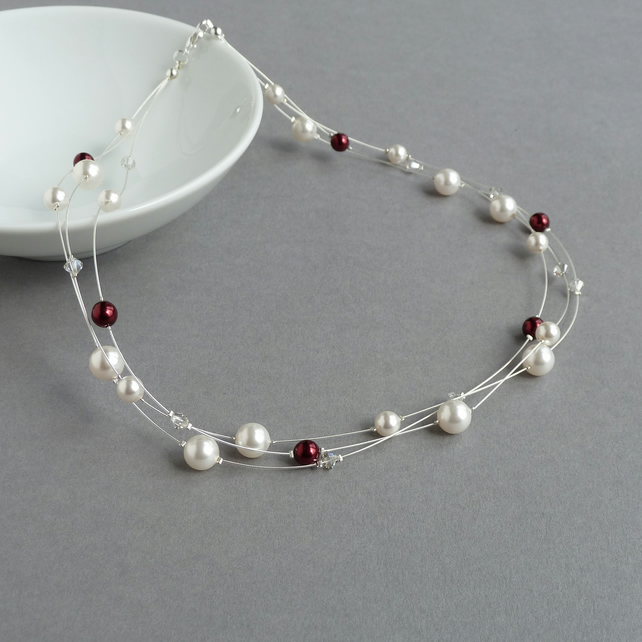 Ivory and Claret Floating Pearl Necklace - White and Dark Red Bridal Jewellery