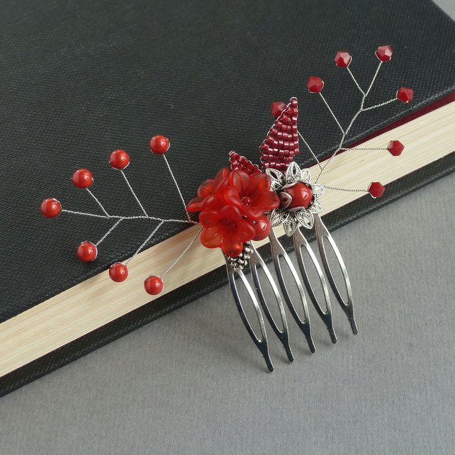 Coral Red Flower Hair Comb - Poppy Red Hair Accessories - Wedding Fascinator