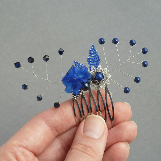 Royal Blue Flower Hair Comb - Navy Bridesmaids Accessories - Wedding Fascinator