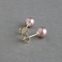 Dusky Pink Stud Earrings - Powder Rose Swaroski Pearl Studs - Blush Bridesmaids