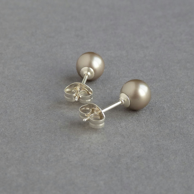 Taupe Post Earrings - Champagne Swarovski Pearl Studs - Beige Bridesmaids Gifts