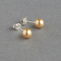 Sunshine Yellow Studs - Gold Swarovski Pearl Post Earrings - Butter Cream